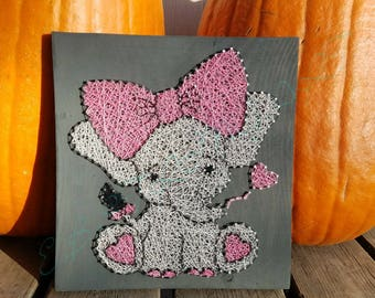 Baby Elephant string art sign - baby elephant with bow- love heart- custom made - hand made - wall art hanging - decoration - nursery - gift