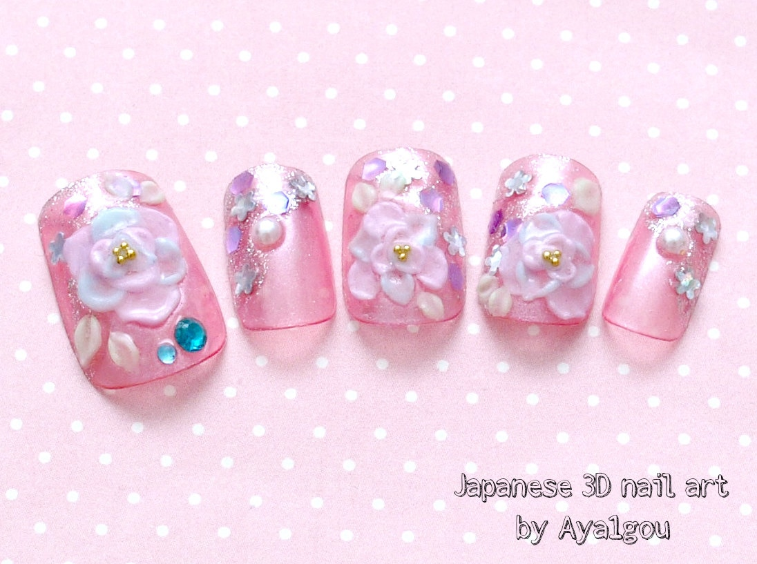 Japanese nail art bridal nail gel nail pink 3D nail rose