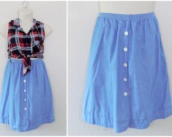 Vintage 80s Chambray Skirt