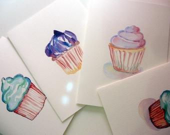 Cute Cupcake Greeting Cards - Cupcake Art Watercolor Art Notecards (Ed. 5), Set of 4