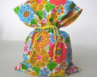 """7 1/2""""x9"""" - Fabric Gift Bag – Reusable Gift Bag - Fabric Gift Wrap - Drawstring Gift Sack - Mothers Day - Gift Giving - Closet Storage Pouch"""