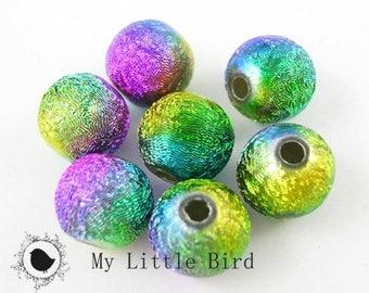 """10 x mix """"brushed"""" Rainbow 8 mm beads"""