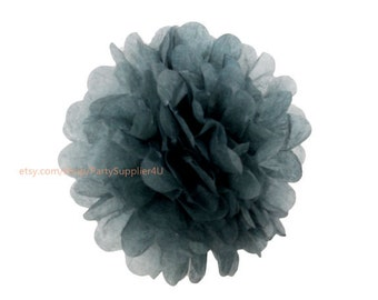 "Gray Tissue Paper Pom Poms Decoration * 6"" Small Tissue Paper Flowers * wedding,bridal shower,birthday party,nursery,college dorm"