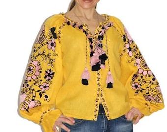 Ukrainian embroidered vyshyvanka blouse for women Vishivanka Boho chic clothing Bohemian ethnic folk Ukraine blouses Custom embroidery