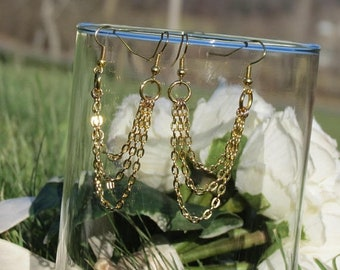 Gold plated double piercing earring, pair, double hole piercings, two hole chain earrings, triple chains, triple lobe earrings, two hole