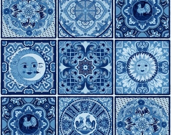 Fiesta Mexican Mosaic Tile 429 Blue Cotton Fabric Panels by Elizabeth's Studio! [By the Panel]