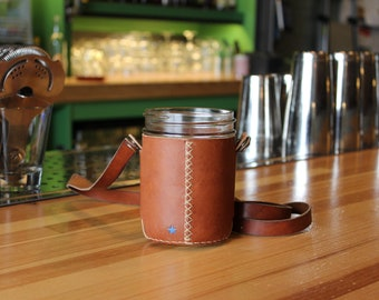 Mason  Cup holder, wide mouth jar holder including detachable strap