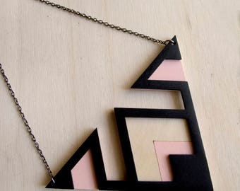 Wooden necklace - Large geometric necklace - Laser cut necklace