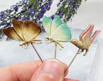 Vintage Art Deco Silver Cold Enamel Set of 3 Butterfly and Bird Stick Pin Brooch