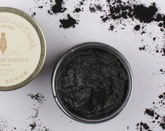 Activated Bamboo Charcoal Sugar Scrub - All Natural Sugar Scrub - 4 oz Emulsified Sugar Scrub - Spa Sugar Scrub - Unscented