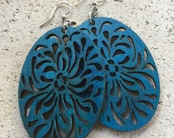 Boho Blue indigo wood earrings