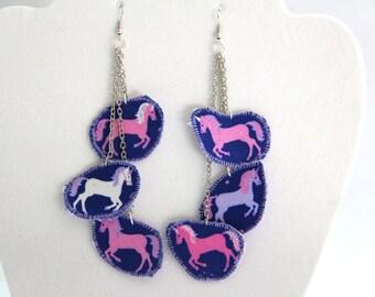 Unicorn earrings, unicorn jewelry, pink and purple unicorns, little pony earrings, unicorn costume jewelry, fantasy earrings, purple unicorn