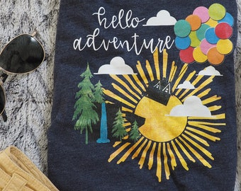 Up Hello Adventure Pixar Baloon House Paradise Falls Shirt, Disney Family Shirts, Animal Kingdom Shirts