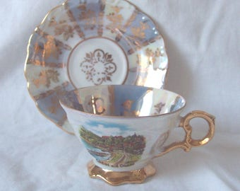 Eigl Porcelain Teacup and Saucer c.1960 Grein and the Blue Danube