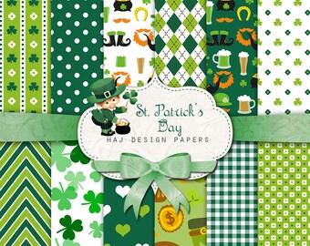 St Patricks Day Digital Paper: Irish Digital Paper, St Patrick Day Decor, Printable St Patrick's Day Paper, Shamrock Green Patterns