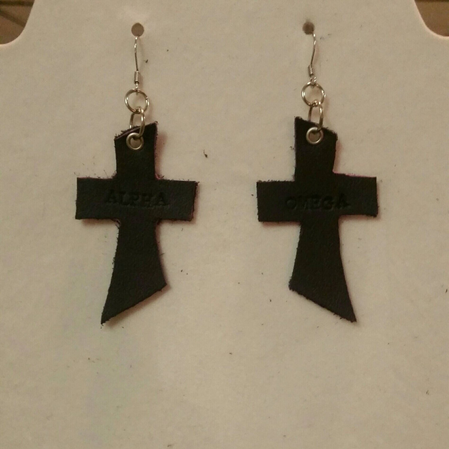 Alpha omega cross earrings description alpha omega stamped leather cross earrings buycottarizona
