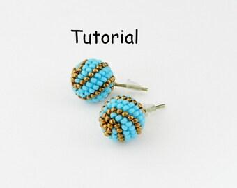 Tutorial Beaded stud earrings. PDF file instant download. Beaded bead  beadwork  beading  bead weaving  bead woven  Jewelry lesson