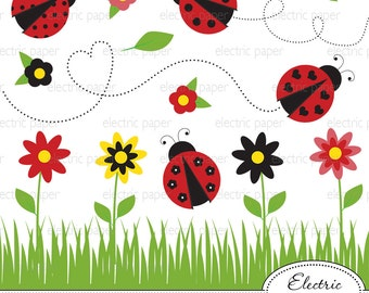 Lady Bug Clip Art Flower Clip Art - jpg and png files - eps file lady bugs and flowers cute lady bug - personal and small commercial use ok