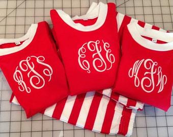 Children's Personalized Pajamas, Monogrammed Pajamas, Christmas Pajamas, Striped Pajamas, Family Matching Pajamas, Ship Now