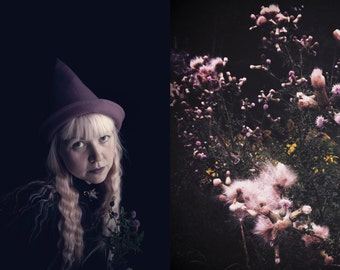 THISTLE WITCH witch hat dusty rose mauve wool melton pointed