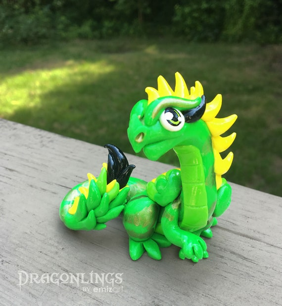 Polymer Clay Feathery Dragonling- Inspired by Lime and Yellow Parakeet