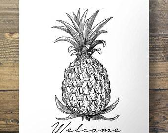 Welcome Pineapple | Printable art | tropical vintage modern minimal illustrated sketch Printable wall art | digital print