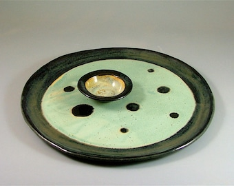 Round Hand-Built Platter and Dipping Bowl - Black and Minty-Ivory with Black Spots / Round Pottery Tray with Tiny Dish