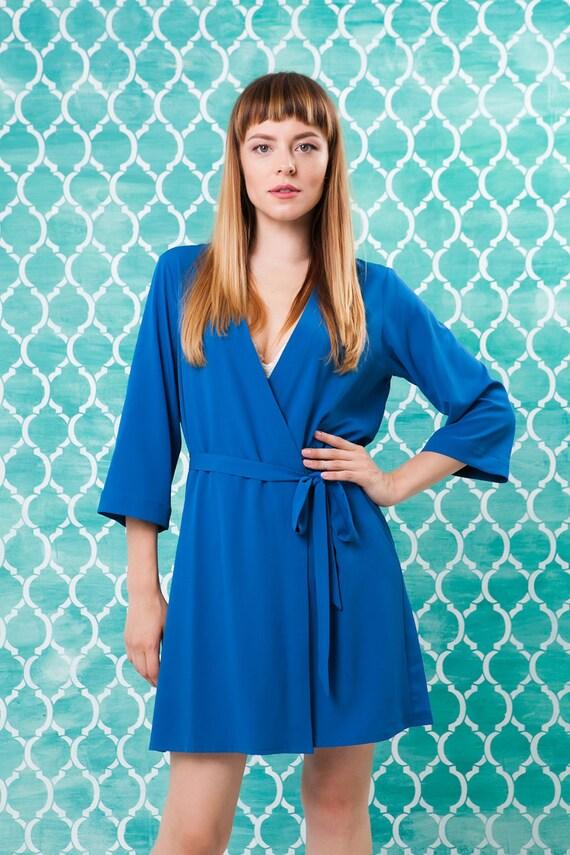 Blaue Robe blau Hausmantel blauen Kimono Hochzeit Braut