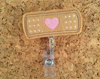 Badge Reel, BAND-AID Id Cardiac Badge Reel - BANDAGE Lanyard - Retractable Name Holder - Nurse, Medical Workers, 930