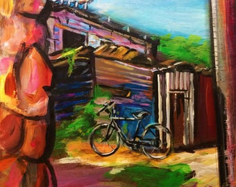 Wall Art - Taboga Island  Panama - Art Print - Bike Print - Travel Print