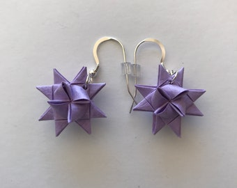 Moravian Star Earrings—Textured Lilac