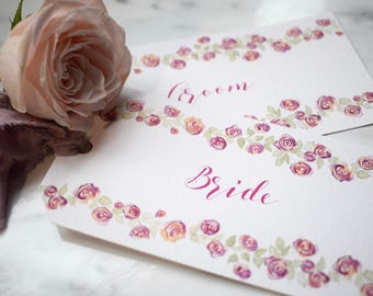 Rose Wedding Place Card Tag