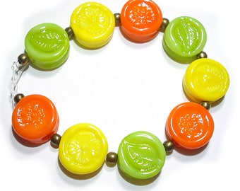 SRA Handmade Glass Lampwork Beads, Citrus Blast Tabs