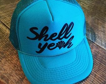 Shell Yeah Trucker Hat  - Women's ONE SIZE, baseball hat, summer, hawaii, funny hat