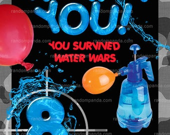 Water Wars Thank You Card, Splash Party, Water Balloon Thanks Note