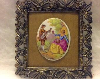 Vintage Fragonard Porcelain cameo in a metal frame. Free ship
