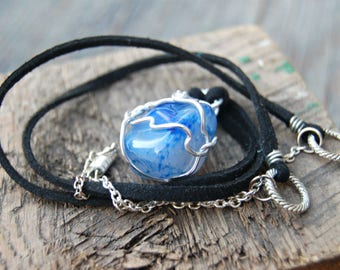 Blue Gemstone Necklace, Blue Agate Necklace, Wire Wrapped Gemstone, Bohemian Stone Necklace, Healing Crystals and Stones, Yoga Jewelry