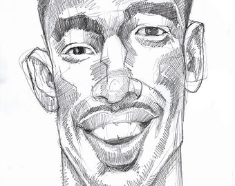Jamal's Good News, 11x17 Expressionist Drawing of Elated Black Athlete