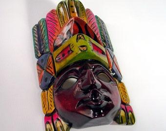 Tribal  Mask, Maya mask, hand carved mask, Maya, wood mask, wood mask, wooden mask, masque