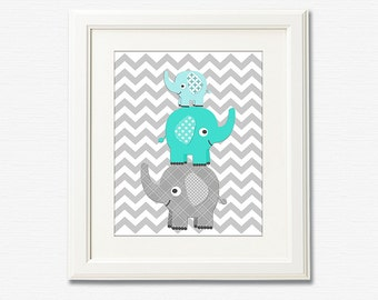Teal and grey stacked elephant nursery art print - 8x10 - Children wall art, aqua, turquoise, chevron - UNFRAMED