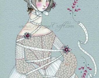 """MarmeeCraft bonnet girl art print, """"Entwined"""""""