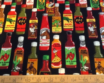 Hot sauce cotton fabric by the yard