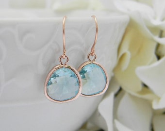 Aquamarine  Earrings in Rose Gold, Bridesmaid Gift, Dangle Earrings, Bridesmaid Earrings, Wedding Jewelry, March Birthstone Jewelry