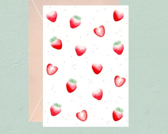 Watercolor kawaii strawberries pattern postcard