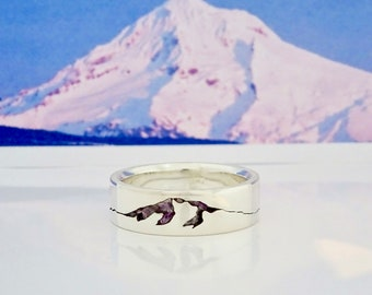 Mount Hood Summit Ring, 8mm Band, Custom Gemstone Inlay Ring, Handmade Mountain Summit Band with Recycled Precious Metal, Mens Wedding Ring