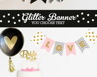 Black and Gold Banner - Congrats Banner Polka Dot Banner - Gold Glitter Banner - Personalized Wedding Banner Congratulations Banner (EB3062)