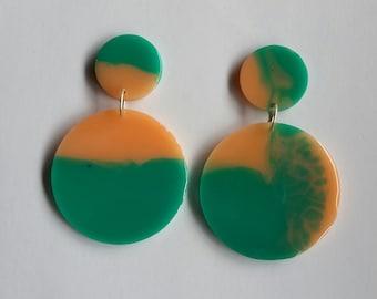 Contemporary Handmade Teal and Peach Circle Resin Dangle Earrings