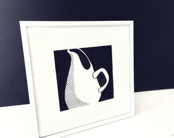 silkscreen, Russel Wright, American Modern, pitcher, midcentury modern, wall art, tableware, print, art for kitchen, 1950's,