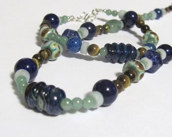Necklace Bracelet and Earrings Set Gemstone Lampwork and Sterling Silver