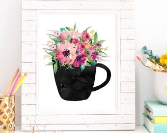 Coffee Mug Watercolor Floral Instant Download Printable Art Home Decor Gift Idea Coffee Lover